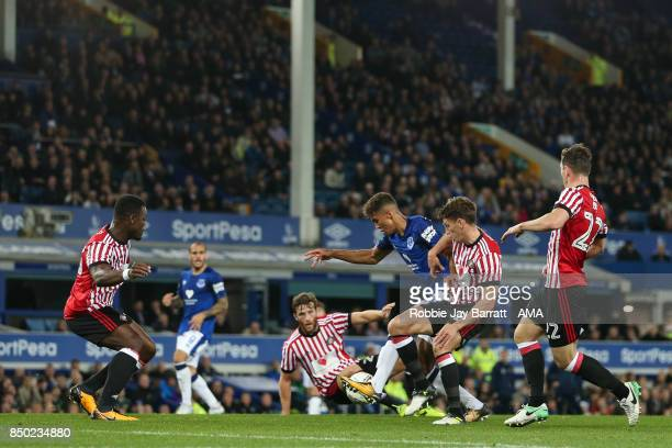 Dominic CalvertLewin of Everton scores a goal to make it 10 during the Carabao Cup Third Round match between Everton and Sunderland at Goodison Park...