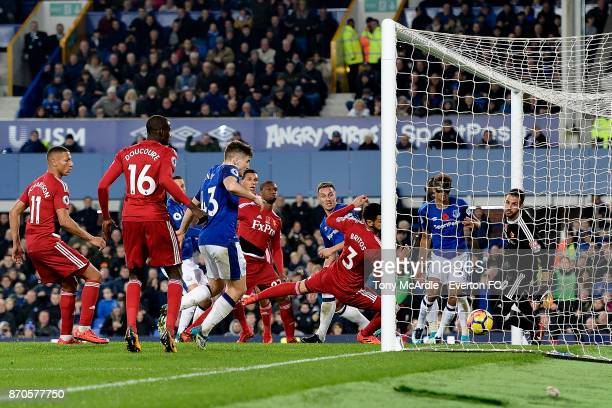 Dominic CalvertLewin of Everton scores from the far post during the Premier League match between Everton and Watford at Goodison Park on November 5...