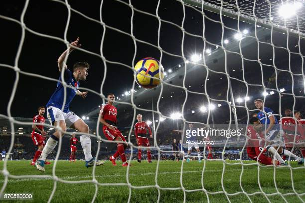 Dominic CalvertLewin of Everton scores his sides second goal during the Premier League match between Everton and Watford at Goodison Park on November...