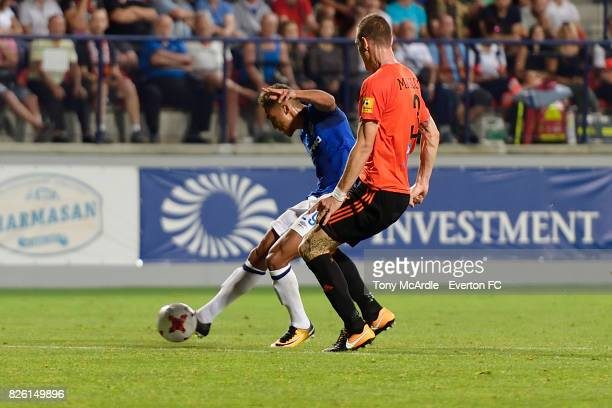 Dominic CalvertLewin of Everton shoots to score during UEFA Europa League Qualifier match between MFK Ruzomberok and Everton on August 3 2017 in...