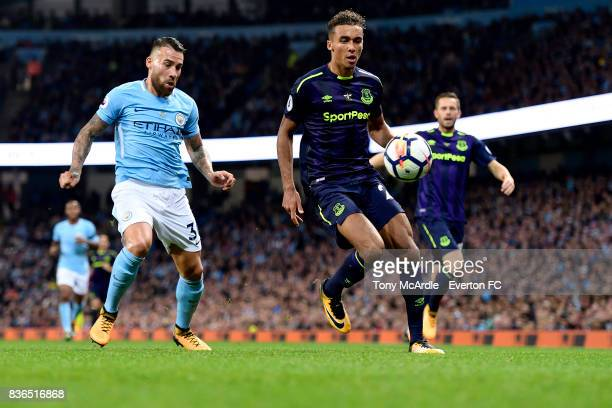 Dominic CalvertLewin of Everton takes on Nicolas Otamendi during the Premier League match between Manchester City and Everton at Etihad Stadium on...