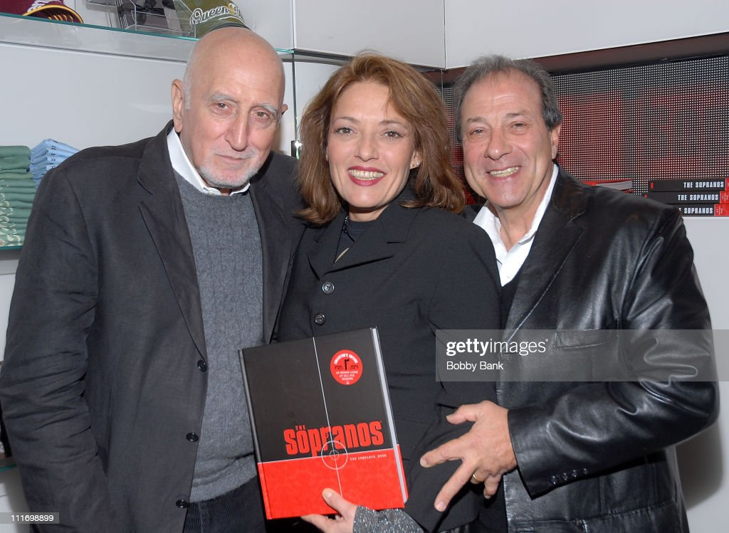 Dominic Chianese, Sharon Angela, and Dan Grimaldi from 'The Sopranos' sign copies of 'The Sopranos: The Complete Book' at The HBO Shop on November 2, 2007 in New York City .
