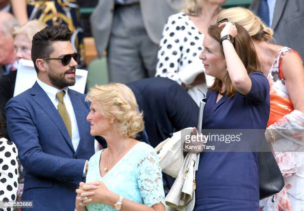 Dominic Cooper and Rebecca Deacon attend day one of the Wimbledon Tennis Championships at the All England Lawn Tennis and Croquet Club on July 3 2017...