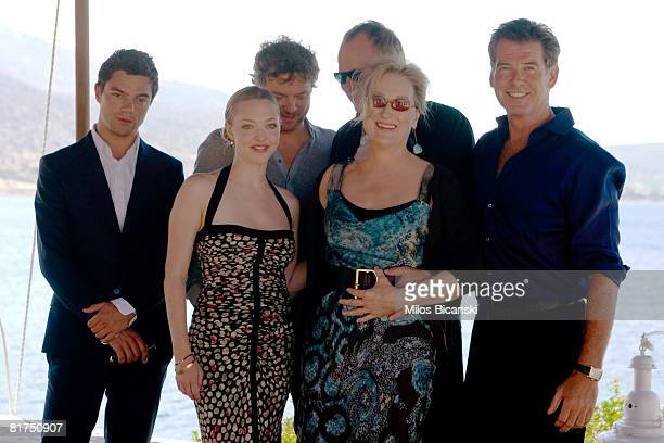 Dominic Cooper Colin Firth Amanda Seyfried Stellan Skarsgard Meryl Streep and Pierce Brosnan attend a photocall for the movie 'Mamma Mia' at the...