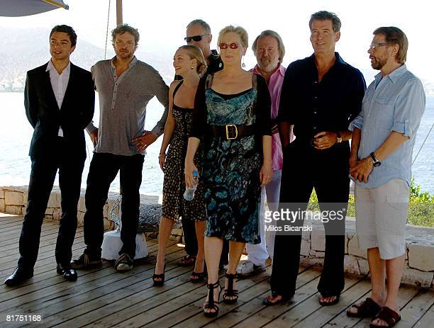 Dominic Cooper Colin Firth Amanda Seyfried Stellan Skarsgard Meryl Streep Benny Andersson Pierce Brosnan and Bjorn Ulvaeus attend a photocall for the...