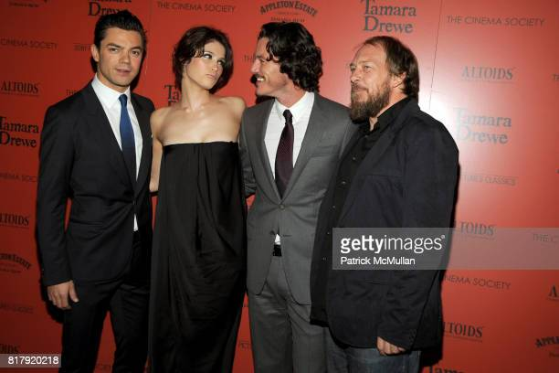 Dominic Cooper Gemma Arterton Luke Evans and Bill Camp attend THE CINEMA SOCIETY ALTOIDS host a screening of 'TAMARA DREWE' at Crosby Street Hotel on...