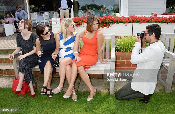 Dominic Cooper shoots pictures of Sophie Rundle Eline Powell Hannah Arterton and Gemma Arterton at Audi International at Guards Polo Club near...