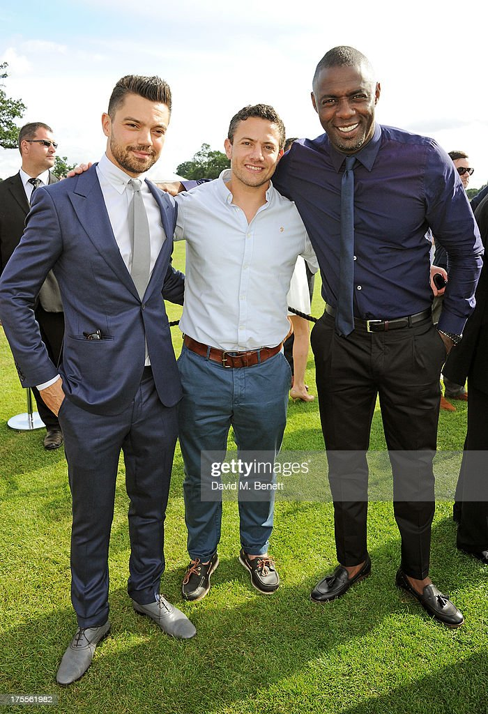 Dominic Cooper, Warren Brown and Idris Elba attend day 2 of the Audi Polo Challenge at Coworth Park Polo Club on August 4, 2013 in Ascot, England.
