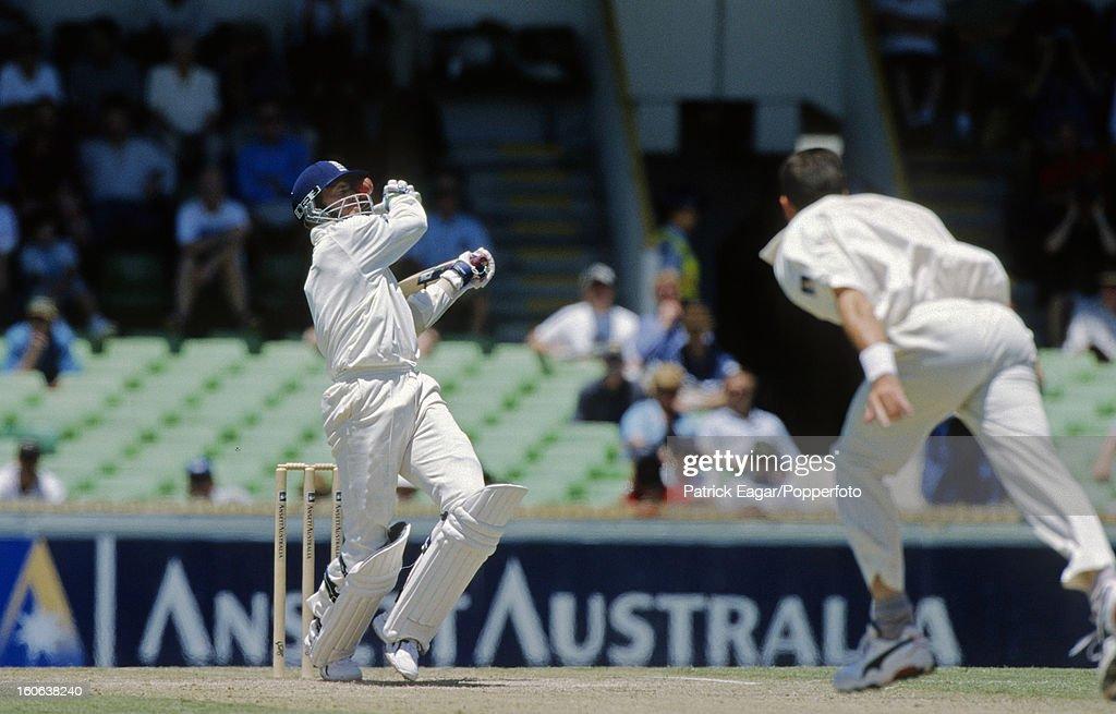 Dominic Cork gets the ball stuck in his helmet 2nd Test Australia v England Perth November 199899