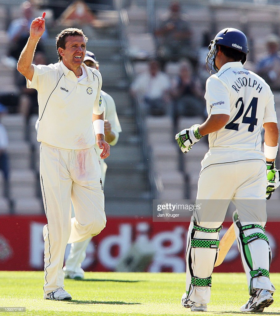 Dominic Cork of Hampshire celebrate the wicket of Jacques Rudolph of Yorkshire during the LV= County Championship Division One match between Hampshire and Yorkshire at The Rose Bowl on May 24, 2010 in Southampton, England.