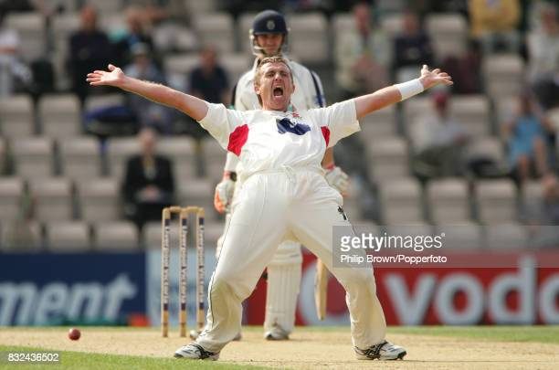 Dominic Cork of Lancashire apppeals unsuccessfully for the wicket of Hampshire's Michael Brown during the County Championship match between Hampshire...