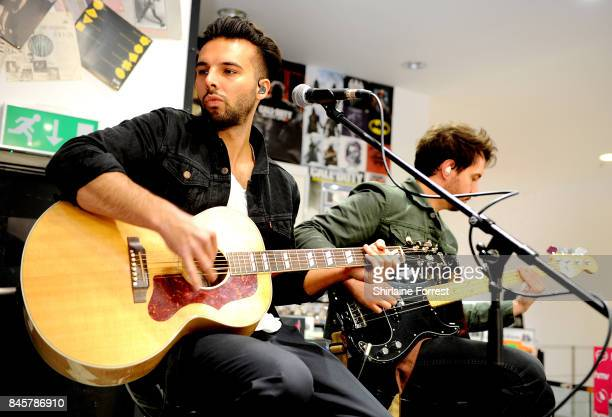 Dominic Craik and Philip Blake of Nothing But Thieves perform live and sign copies of their new album 'Broken Machine' at HMV Manchester on September...
