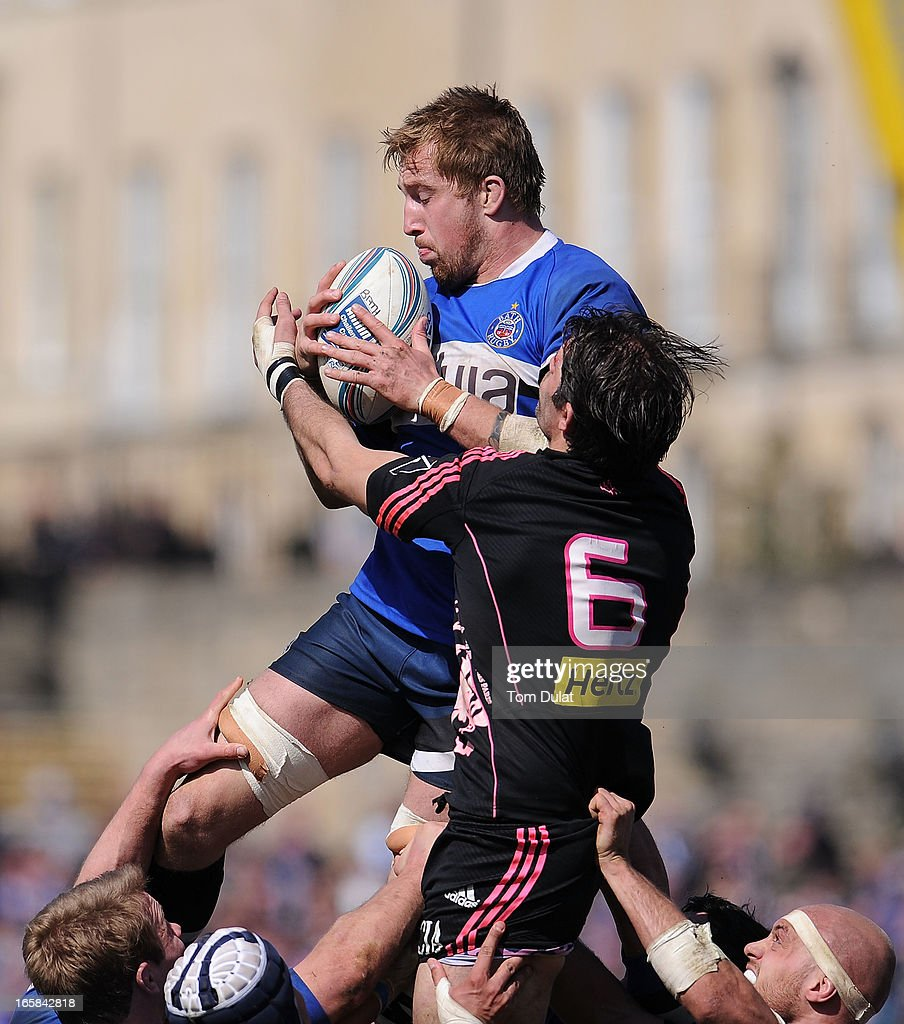 Dominic Day of Bath and Pierre Rabadan of Stade Francais battle for the ball during the Amlin Challenge Cup Quarter Final match between Bath and Stade Francais at the Recreation Ground on April 06, 2013 in Bath, England.