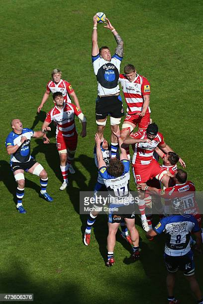 Dominic Day of Bath claims the ball from James Hudson of Gloucester at a lineout during the Aviva Premiership match between Bath Rugby and Gloucester...
