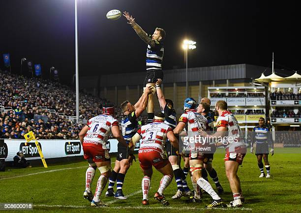 Dominic Day of Bath Rugby rises highest in the line out to claim the ball during the Aviva Premiership match between Bath Rugby and Gloucester Rugby...