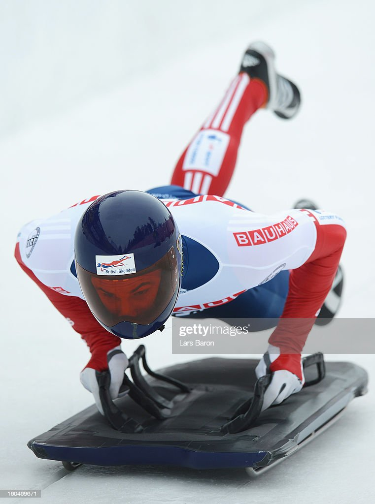 Dominic Edward Parsons of Great Britain competes during the man's skeleton first heat of the IBSF Bob & Skeleton World Championship at Olympia Bob Run on February 1, 2013 in St Moritz, Switzerland.