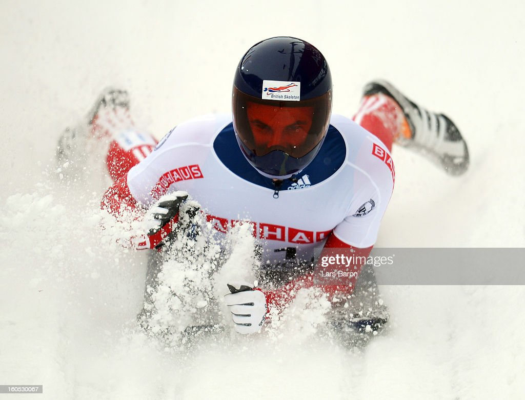 Dominic Edward Parsons of Great Britain is seen after the man's skeleton final heat of the IBSF Bob & Skeleton World Championship at Olympia Bob Run on February 2, 2013 in St Moritz, Switzerland.