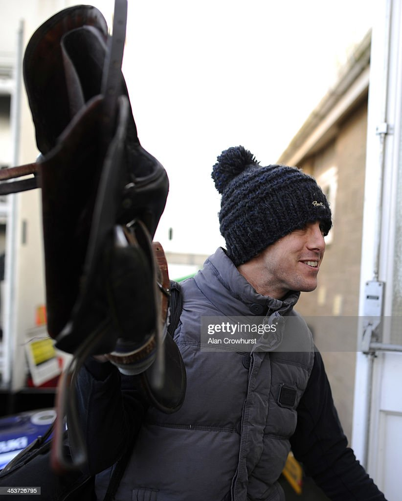 Dominic Elsworth arrives at the course for a stewards enquiry into the fight with Timmy Murphy which took place at Newbury racecourse at the weekend at Wincanton racecourse on December 05, 2013 in Wincanton, England.