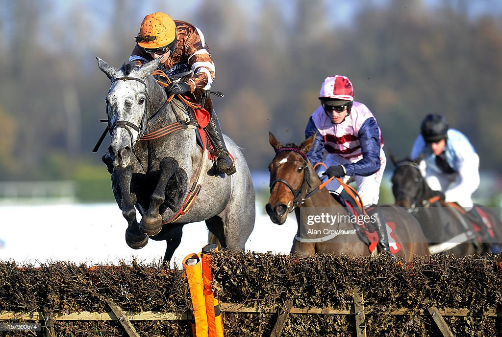 Dominic Elsworth riding Kentford Grey Lady clear the last to win The Russell Bowes Memorial Mares' Handicap Hurdle at Sandown racecourse on December 08, 2012 in Esher, England.
