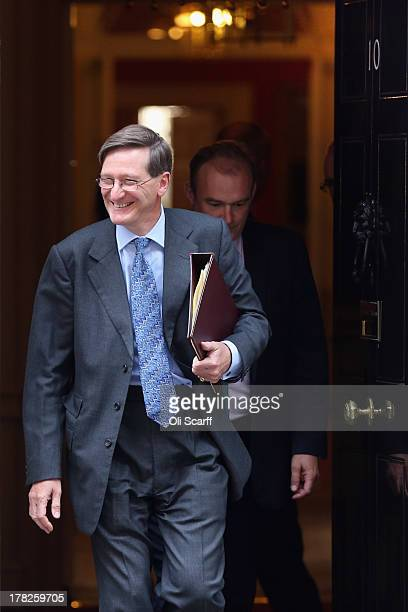 Dominic Grieve the Attorney General leaves Number 10 Downing Street on August 28 2013 in London England Prime Minister David Cameron is due to Chair...