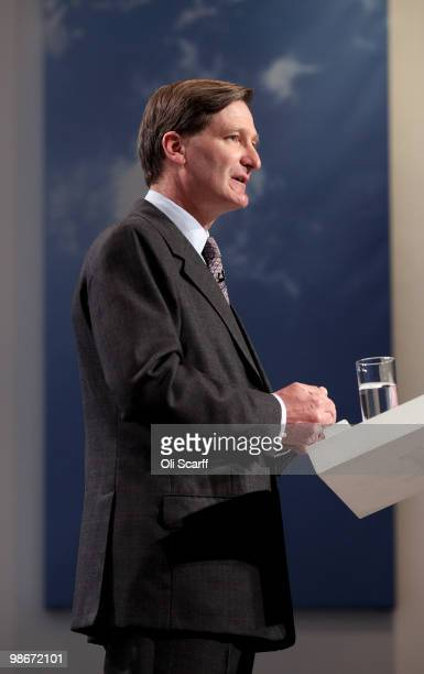 Dominic Grieve the Conservative's Shadow Secretary of State for Justice holds a press conference on April 26 2010 in London England Two Conservative...