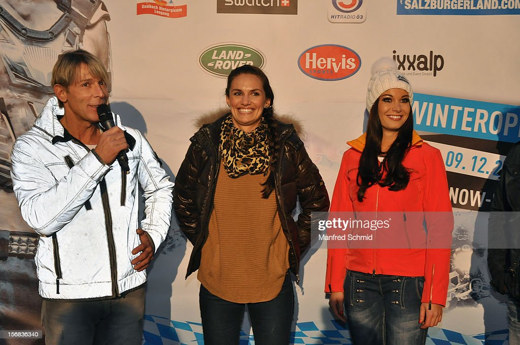 Dominic Heinzl, Tanja Duhovich and Carmen Stamboli attend the Swatch Snow Mobile 2012 press conference at Graben on November 22, 2012 in Vienna, Austria.