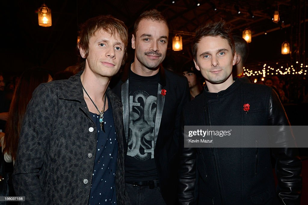 Dominic Howard, Chris Wolstenholme and Matthew Bellamy of Muse attend the MTV EMA's 2012 at Festhalle Frankfurt on November 11, 2012 in Frankfurt am Main, Germany.