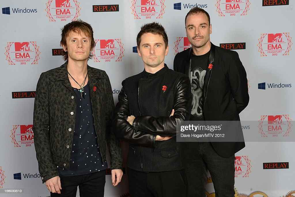 Dominic Howard, Matthew Bellamy and Chris Wolstenholme of Muse attend the MTV EMA's 2012 at Festhalle Frankfurt on November 11, 2012 in Frankfurt am Main, Germany.