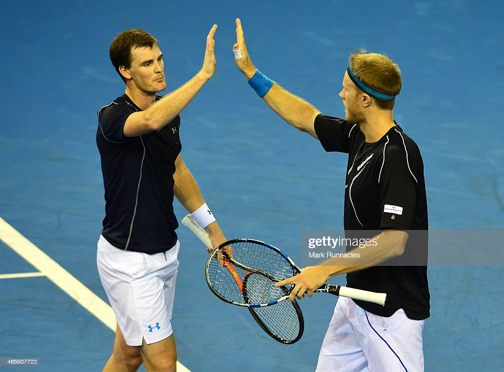 Dominic Inglot and Jamie Murray of the Aegon GB Davis Cup Team in action against Mike Bryan and Bob Bryan of the United States during the doubles...