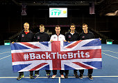 Dominic Inglot Jamie Murray Leon Smith James Ward and Andy Murray of The Aegon GB Davis Cup Team pose ahead of the Davis Cup match between GB and USA...