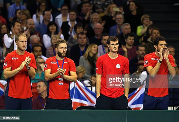 Dominic Inglot Liam Broady Jamie Murray and James Ward of The Aegon GB Davis Cup Team show their support during Day 3 of the Davis Cup Match between...