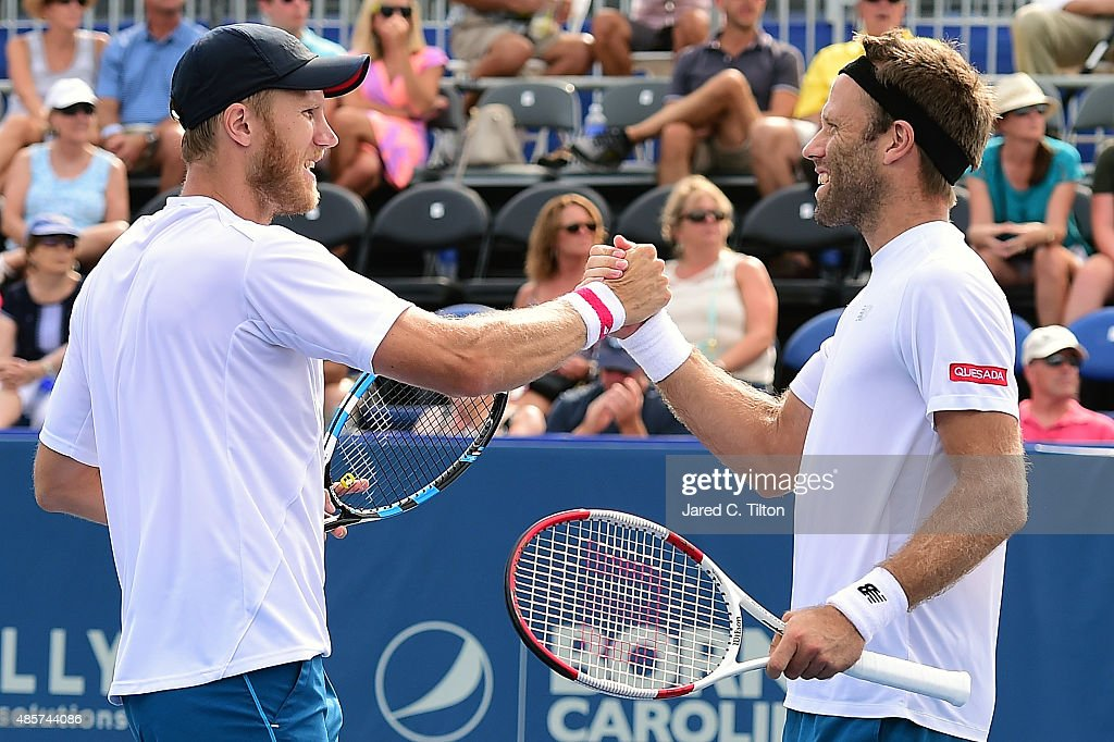 Dominic Inglot of Great Britain and Robert Lindstedt of Sweden celebrate after defeating Eric Butorac and Scott Lipsky after the men's doubles final...