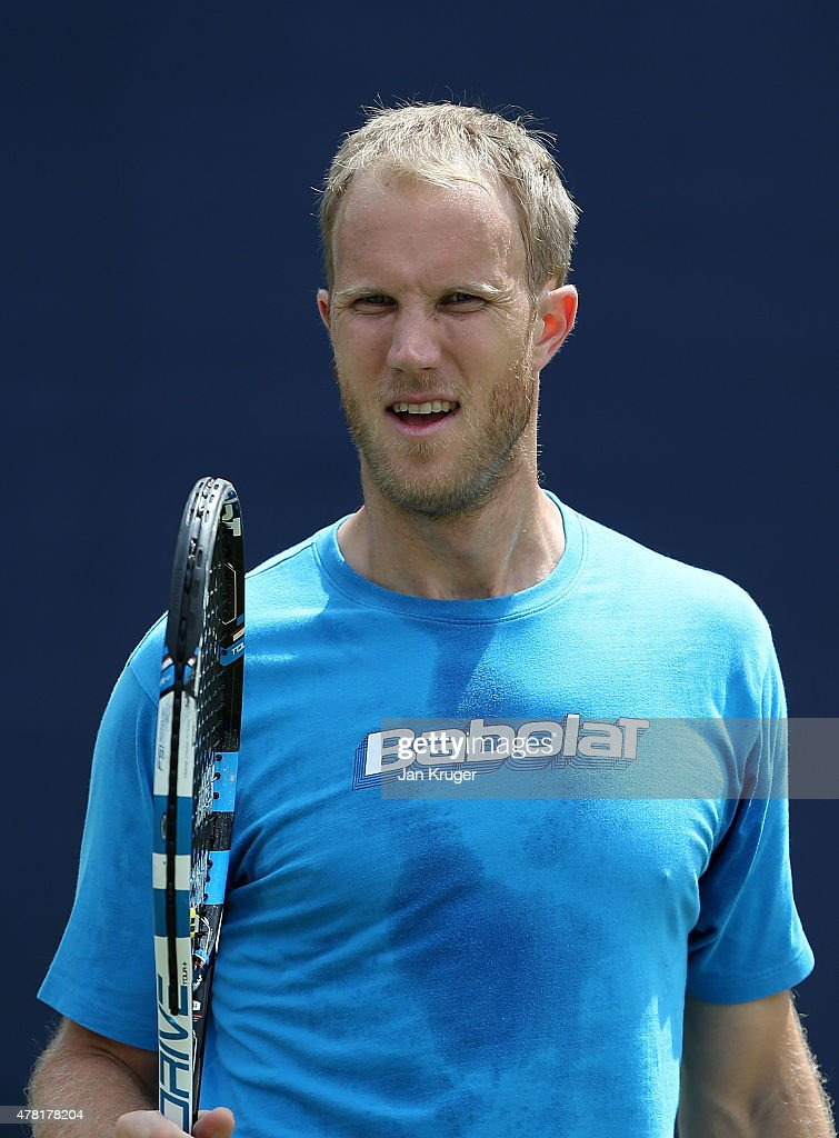 Dominic Inglot of Great Britain has a practice session with doubles partner Jamie Murray of Great Britain on day three of the Aegon Open Nottingham...