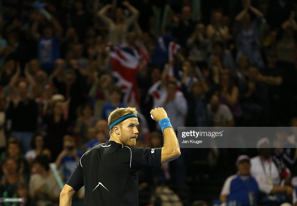 Dominic Inglot of The Aegon GB Davis Cup Team celebrates a point against Mike and Bob Bryan of the United States during Day 2 of the Davis Cup match...