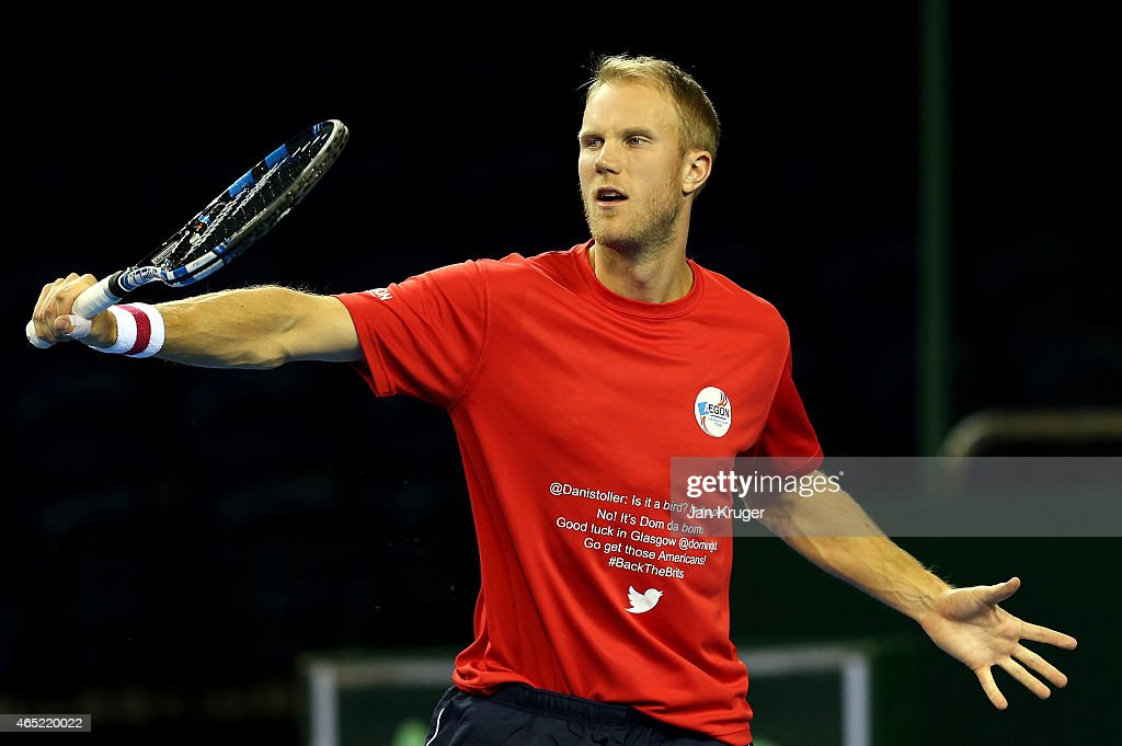 Dominic Inglot of The Aegon GB Davis Cup Team takes part in a practice session ahead of the Davis Cup match between Great Britain and USA at Emirates...