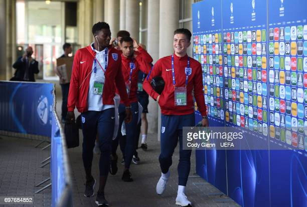 Dominic Iorfa and Jack Grealish of England arrive before their UEFA European Under21 Championship match against Slovakia on June 19 2017 in Kielce...
