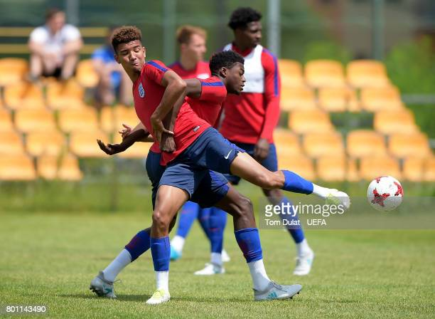 Dominic Iorfa and Mason Holgate of England U21 during a training session on the eve of their UEFA European Under21 Championship Semifinal against...