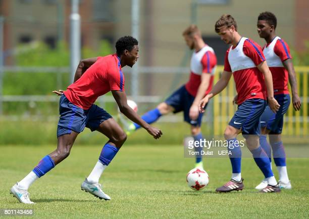 Dominic Iorfa of England U21 warms up during a training session on the eve of their UEFA European Under21 Championship Semifinal against Germany on...