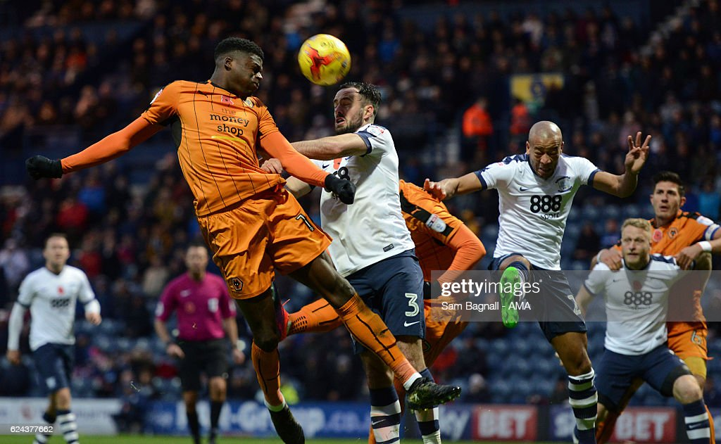 Dominic Iorfa of Wolverhampton Wanderers and Greg Cunningham of Preston North End during the Sky Bet Championship match between Preston North End and Wolverhampton Wanderers at Deepdale on November 19, 2016 in Preston, England.