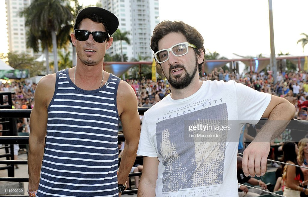 Dominic Lalli (L) and Jeremy Salken of Big Gigantic pose at Day Three of Ultra Music Festival 14 at Bayfront Park on March 25, 2012 in Miami, Florida.