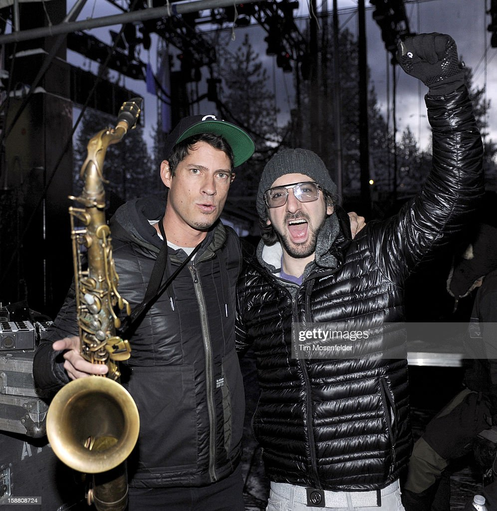 Dominic Lalli (L) and Jeremy Salken of Big Gigantic pose before taking the stage at the Snowglobe Music Festival at Lake Tahoe Community College on December 29, 2012 in South Lake Tahoe, CA.