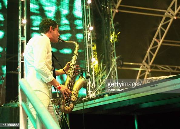 Dominic Lalli of Big Gigantic performs onstage during day 3 of the 2014 Coachella Valley Music Arts Festival at the Empire Polo Club on April 13 2014...
