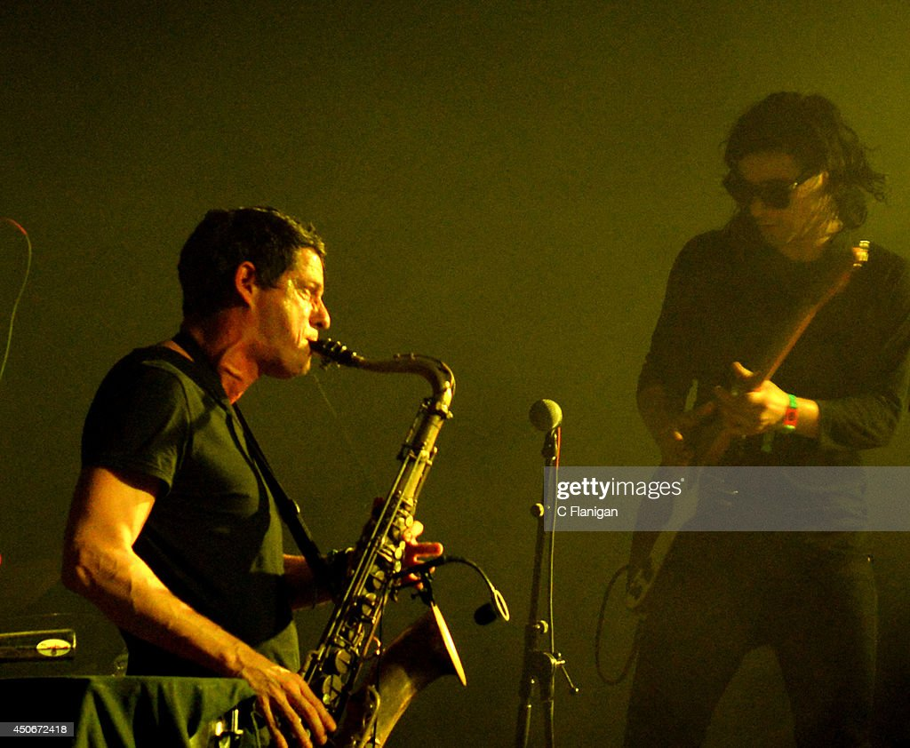 Dominic Lalli of Big Gigantic performs with Skrillex during the superjam during the 2014 Bonnaroo Music & Arts Festival on June 14, 2014 in Manchester, Tennessee.