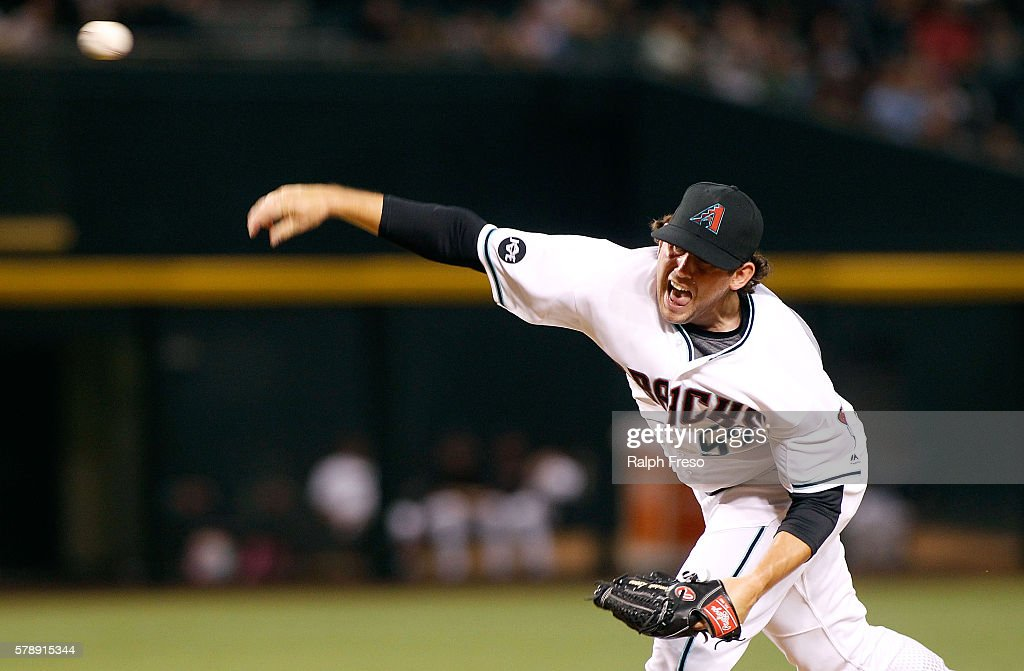 Dominic Leone of the Arizona Diamondbacks pitches against the Toronto Blue Jays during the ninth inning of a MLB interleague game at Chase Field on...
