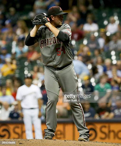 Dominic Leone of the Arizona Diamondbacks pitches in the sixth inning against the Milwaukee Brewers at Miller Park on July 25 2016 in Milwaukee...