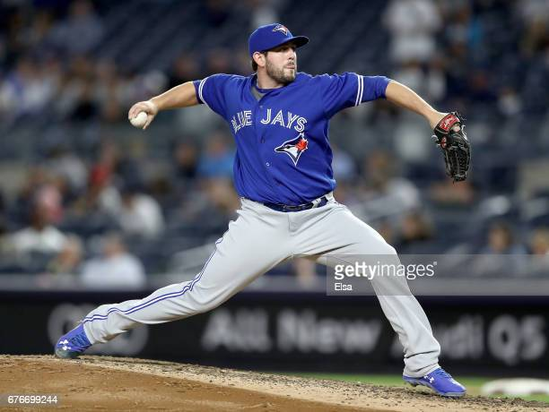 Dominic Leone of the Toronto Blue Jays delivers a pitch in the fifth inning against the New York Yankees on May 2 2017 at Yankee Stadium in the Bronx...