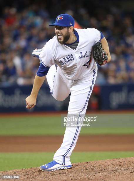 Dominic Leone of the Toronto Blue Jays delivers a pitch in the sixth inning during MLB game action against the Baltimore Orioles at Rogers Centre on...