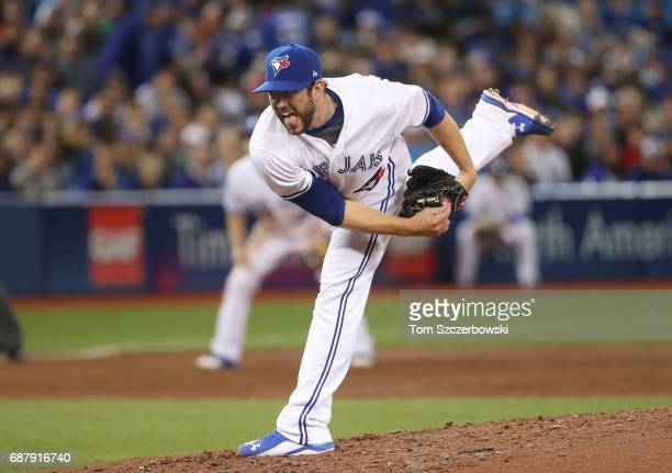 Dominic Leone of the Toronto Blue Jays delivers a pitch in the third inning during MLB game action against the Cleveland Indians at Rogers Centre on...