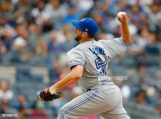 Dominic Leone of the Toronto Blue Jays in action against the New York Yankees at Yankee Stadium on September 30 2017 in the Bronx borough of New York...
