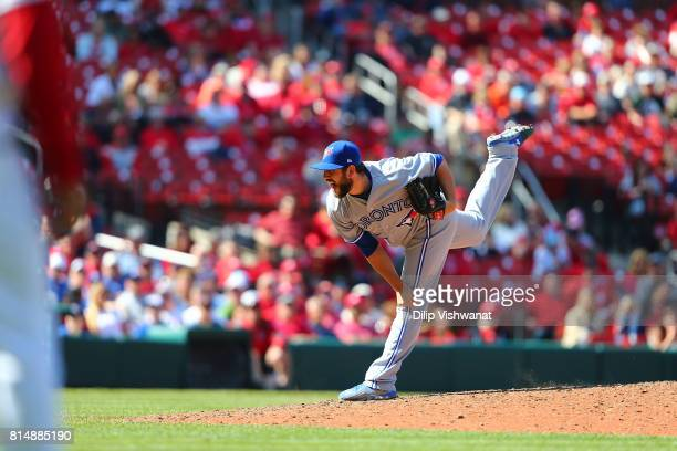 Dominic Leone of the Toronto Blue Jays pitches against the St Louis Cardinals at Busch Stadium on April 27 2017 in St Louis Missouri